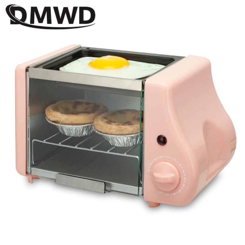 DMWD 2 In 1 Mini Electric Baking Bakery Roast Oven Grill Fried Eggs Omelette Frying Pan Breakfast Machine Bread Maker Toaster