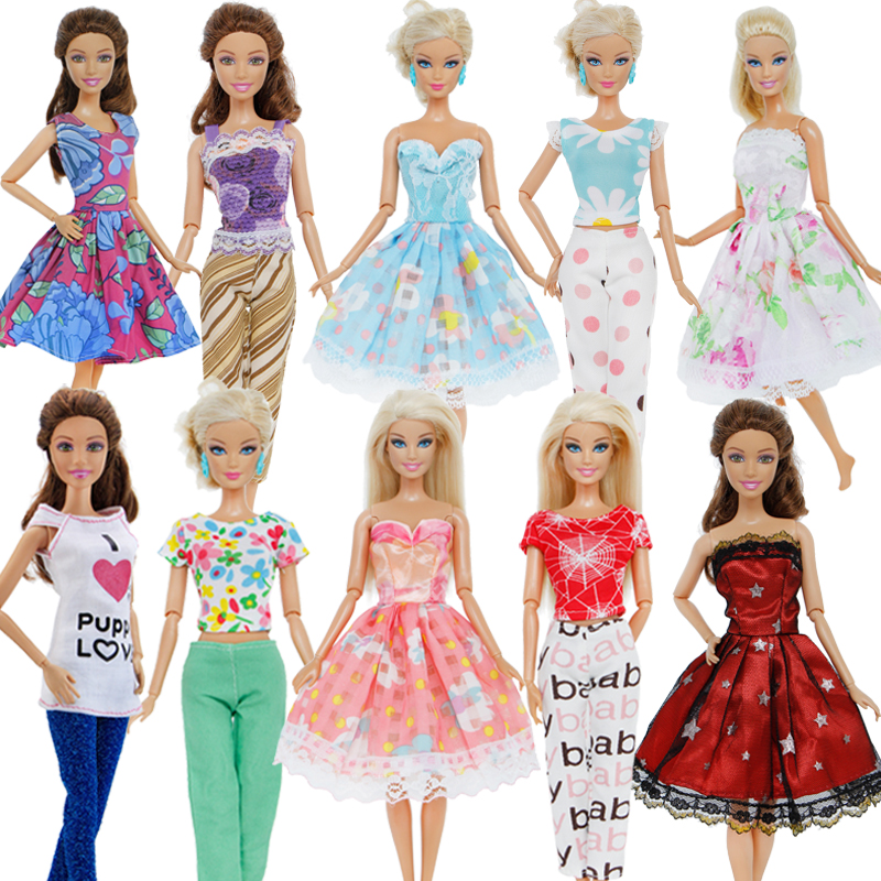 Handmade Outfit Mixed Style Daily Casual Wear Wedding Party Dress Accessories Clothes For Barbie Doll Baby Girl DIY Gift Toys random style fashion blue handmade doll dresses for girl xmas gift doll clothes accessories