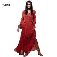 TUHAO Long Indie Folk Dress Women Clothing V Neck Tassel Embroidery Retro Autumn Maxi Dresses Female