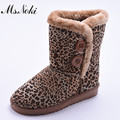 shoes woman 2016 winter new warm plush snow boots slip on leopard ankel boots fashion womens cotton padded flats botas Femininas