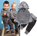 Newborn Infant Baby Boys Girls Clothes Set Romper Hooded Tops Cotton Striped Long Pants Clothing Outfit