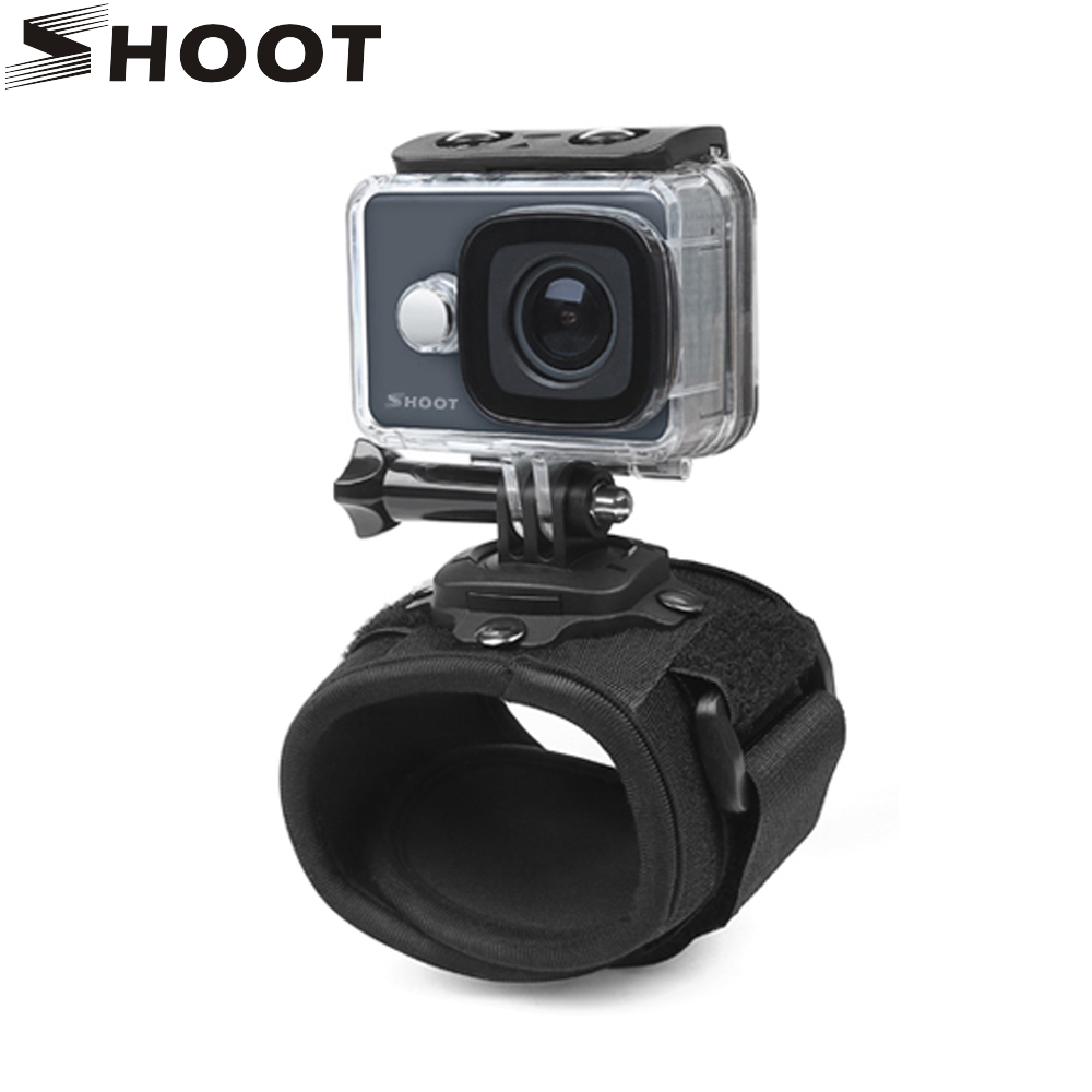 360 Degree Rotation Action Camera Wrist Strap Mount for GoPro Hero 5 6 3 4 Session Xiaomi Yi 4K SJCAM SJ4000 Go Pro Accessory miniisw m ac universal curved surface mount kit for gopro hero 4 3 3 hero2 hero sj4000 black
