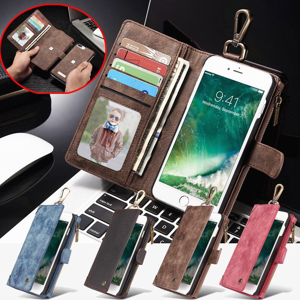 imágenes para CaseMe Negocio Cremallera Carpeta Del Cuero Del Tirón para el iphone 7 6 6 S Plus Bolsa Cubierta Del Teléfono con Ranura Para Tarjeta y Separable Imán Shell