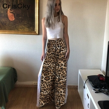 CRISCKY Hot Summer Women Casual Loose Trousers Ladies High Waist Zipper Leopard Print Slit Pants Nightclub Party Pants Female chic women s leopard print loose exumas pants