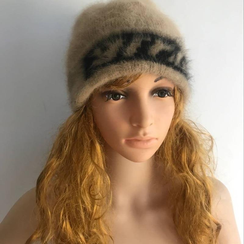 LOVELYDONKEYwomen Mink Cashmere   Ladies Hand Knitting Hats Winter Warm Knitting Cap  Free Shipping  M1007