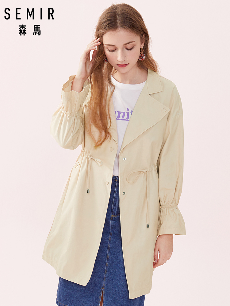 SEMIR Women Oversized Lightweight Trenchcoat with Trumpet Sleeves Women's Soft   Trench   Coat with Drawstring at Waist for Spring
