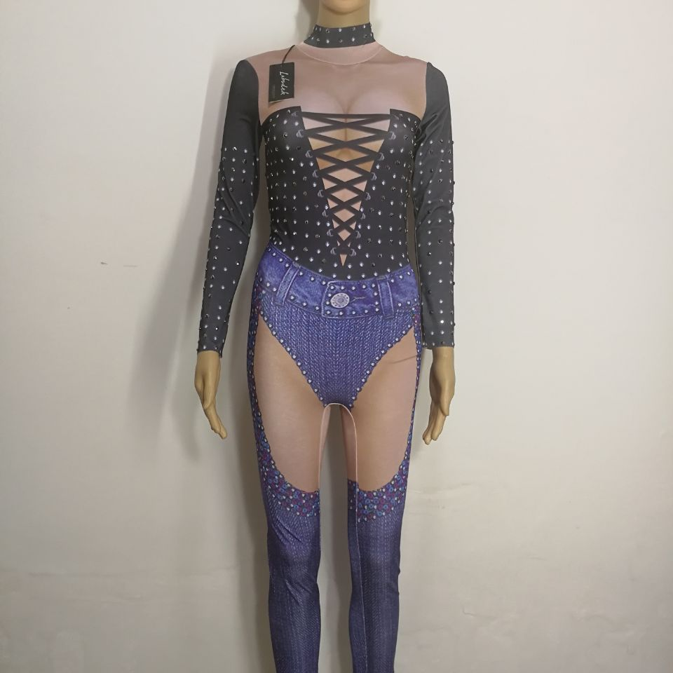 Bright Crystals female Jumpsuit Sexy Bandage Leotard Stretch jumpsuit Nightclub DJ DS Costumes Bar Pole dancing performance wear