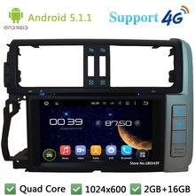 Quad Core 1024*600 Android 5.1.1 reproductor de DVD del coche Radios pantalla estéreo DAB + 4G WiFi GPS para toyota Lander Cruiser Prado 2010-2013
