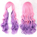 New 70cm Pink Purple Mixed color Full wig Women Heat Resistant Hair Wig Colorful Wavy Cosplay Wigs Synthetic Hair Full Lace Wig
