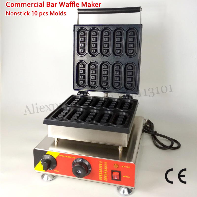 110V 220V Electric Bar-shape Small Waffle Baker Machine Nonstick 10 Molds 1500W with Timer and Temperature Controller economic and elegance waffle maker machine baker doulbe head electric churros with bar shaped and popsicle