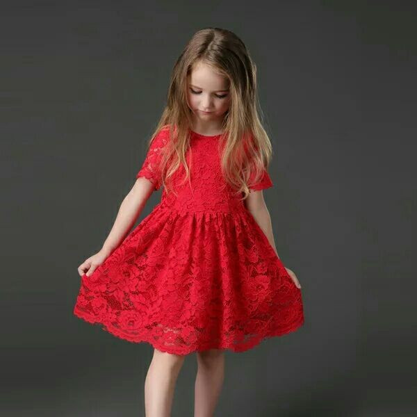 2019 Cute Knee Length Red Lace   Flower     Girl     Dresses   Scoop Neck with Short Sleeves First Communion   Dresses   for   Girls   Pageant   Dress