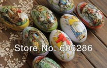50pcs/lot Mini Tin box Easter Egg shaped Rabbit mixed pattern Fashion easter eggs tin storage candy box(China)
