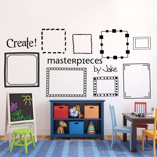 Kids Art Display Picture Frame Wall Decals Mural Playroom Bedroom