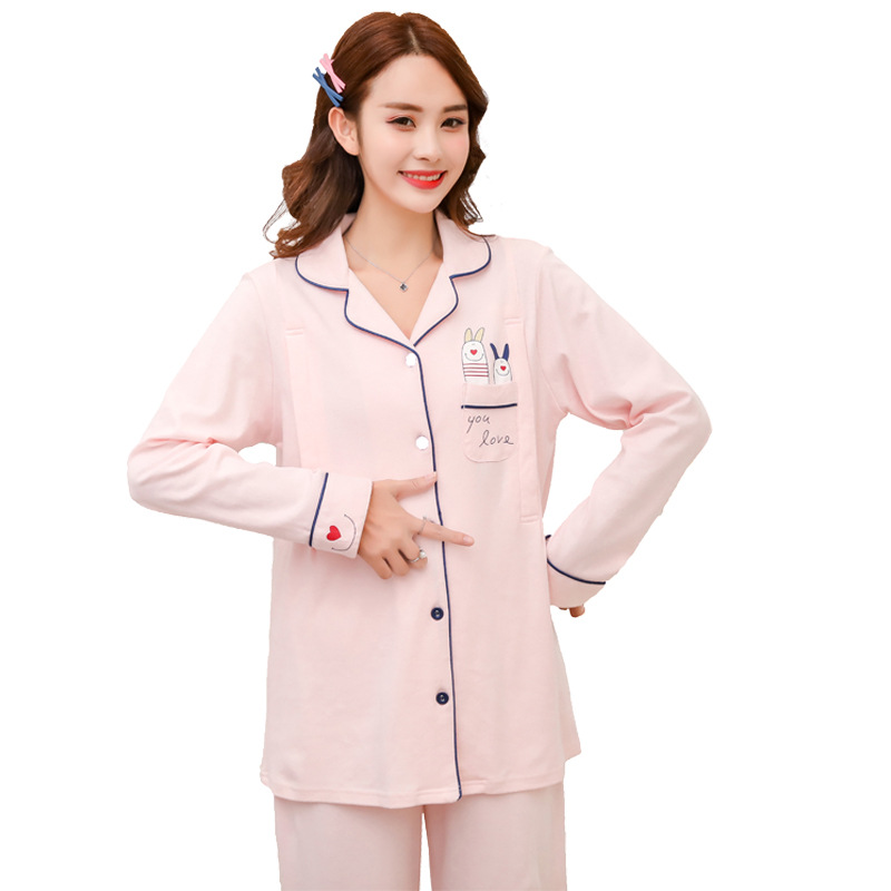 The expectant mother nightwear long sleeve cotton maternity and nursing set Trousers homewear pregnant women's nursing nightgown