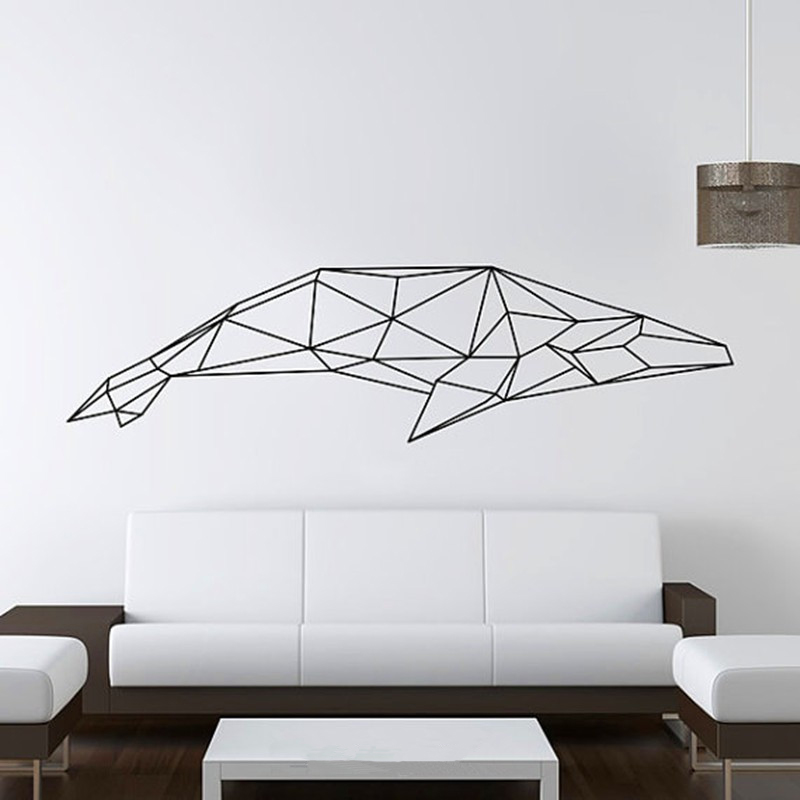 2016 new design geometric whale wall sticker geometry for Decoration murale geometrique