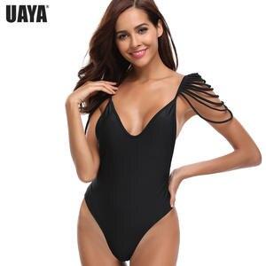 5d7161610a773 Shoulder hanging chain design monokini bikini deep v-neck swimsuit women  long leg line swimwear female open back design bikini