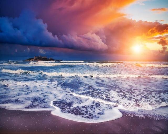Beibehang 3d Wallpaper Aesthetic Dream Sunrise Oriental Beach View Tv