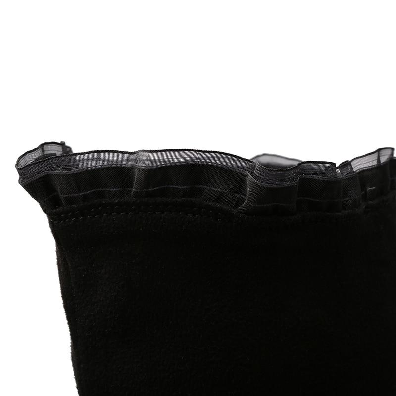 genou Black Tacticas Talon Grande Fermeture Talons Bout Femmes la Sur Mode 48 Noir 32 En Rond Chaussures Hauts Éclair Botas Taille Mince Daim Bottes Hiver De SwS4q1O