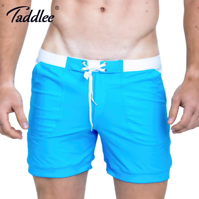 Taddlee Brand Venta caliente Sexy hombres trajes de baño Swim Boxer Trunks Beach Board Shorts Plus tamaño grande Color sólido hombres trajes de baño