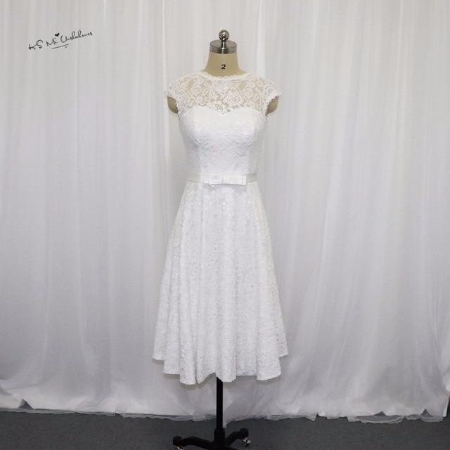 Vestido de Noiva Curto Vintage Korte Trouwjurk Kant 2017 Bruidsjurken  Knielengte China Bruid Jurken Corset Back f789c0935a05
