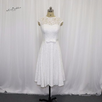 Vestido de Noiva Curto Vintage Short Wedding Dress Lace 2017 Wedding Gowns Knee Length China Bride Dresses Corset Back Plus Size