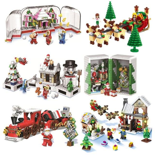 Зимняя серия для девочек, Санта Клаус, лось, снеговик, строительные блоки, модель друзей, женские наборы, игрушки, совместимые с Lego