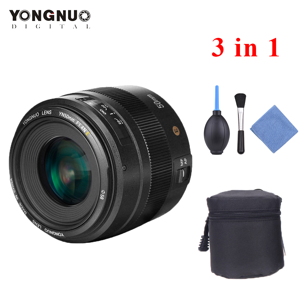 YONGNUO YN50mm F1.4N E Lens Standard Prime Lens F1.4 Large Aperture Live View Focusing Auto Manual Focus Lens for Nikon D5 D4 D3-in Camera Lens from Consumer Electronics    2