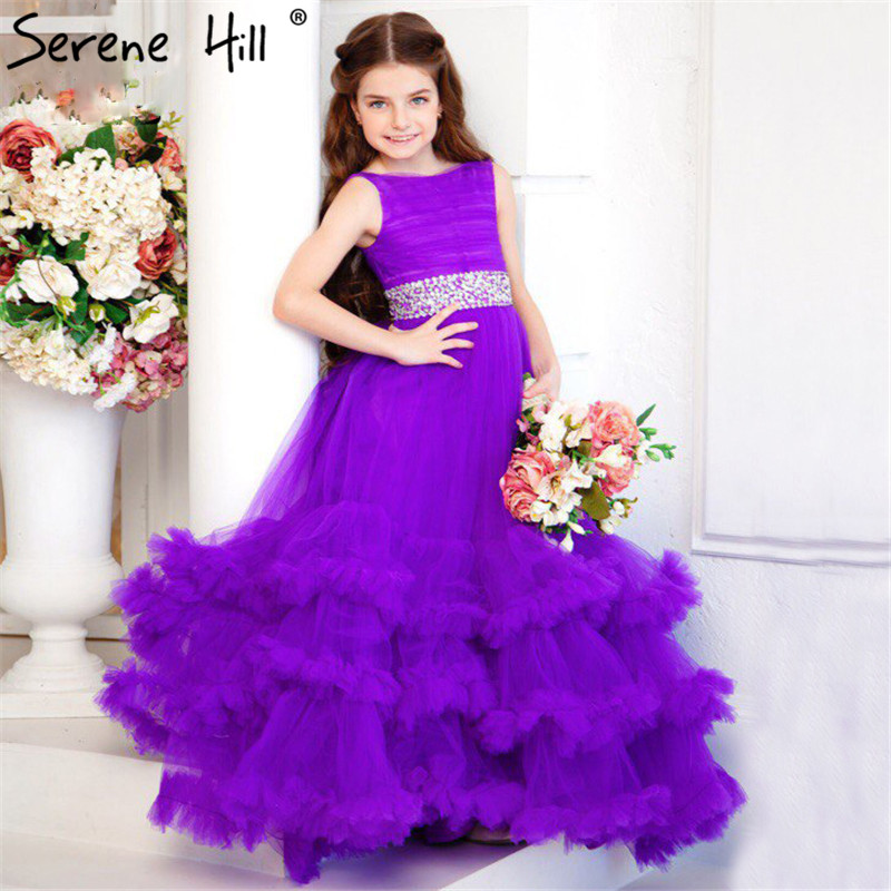 First Communion Dresses For Girls Purple Sequined Tulle Sleeveless