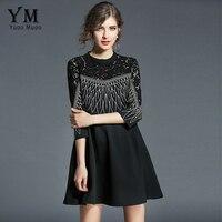 YuooMuoo European Women Spring Dress O Neck Embroider Lace Patchwork Autumn Three Quarter Sleeve Black Dresses