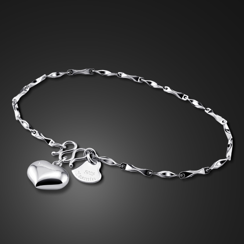 Fashionable woman sterling silver bracelet.Solid 925 silver charm lady bracelet.Simple girl heart-shaped bracelet.Silver jewelry