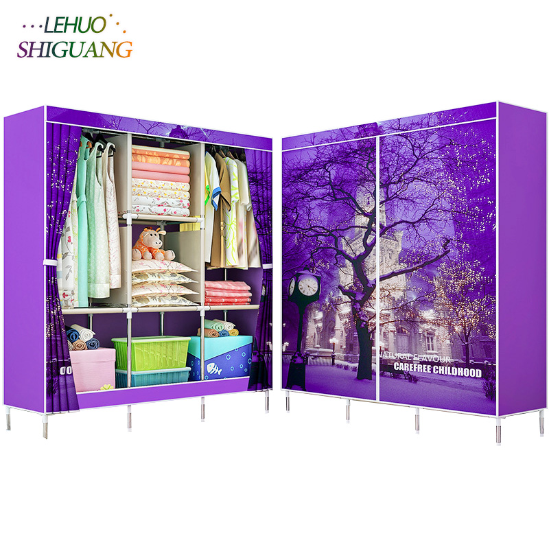 3D painting Nonwoven fabric wardrobes Steel frame reinforcement Standing Storage Organizer closet cabinet home bedroom furniture