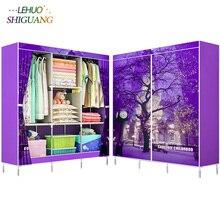 Pintura 3D tela no tejida armarios marco de acero refuerzo de pie armario organizador para almacenamiento gabinete muebles para habitación