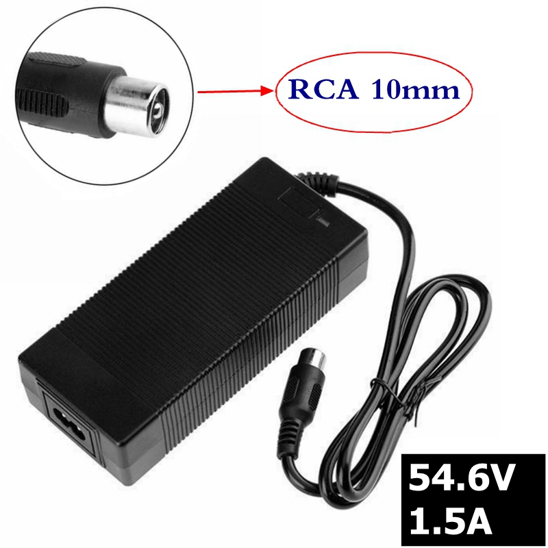54.6V 1.5A charger 54.6v 1.5A electric bike lithium battery charger for 48V lithium battery pack RCA Connector new high quality 29 4v 2a electric bike lithium battery charger for 24v 2a lithium battery pack rca plug connector charger