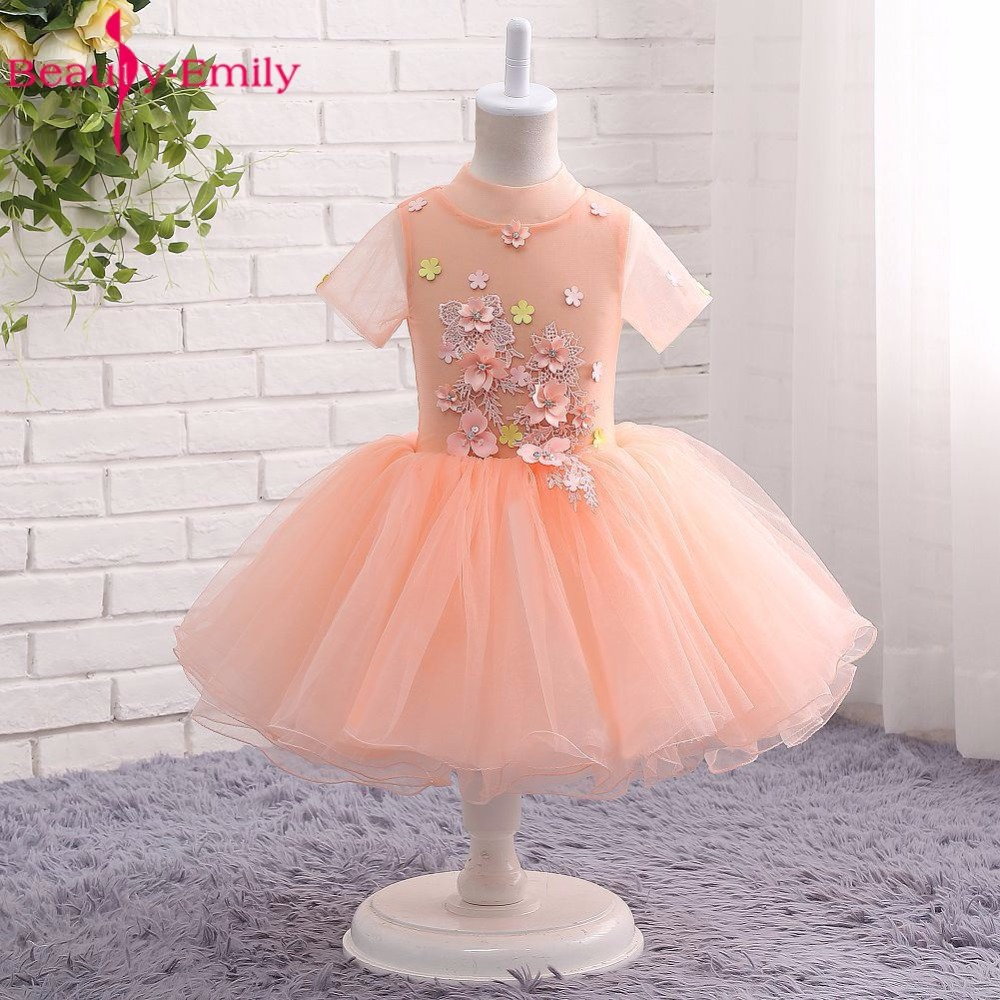 Beauty-Emily Appliques Orange   Flower     Girl     Dresses   2017 Zipper Ball Gown Party   Girl     Dress   Lovely Princess   Dresses   Party   Dress