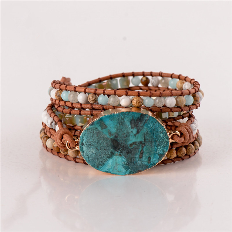 Latest 2018 - 5X Leather Wrap Beaded Bracelet  Huge OceanStone Bracelet, Boho Chic Jewelry, Bohemian Bracelet Valentine