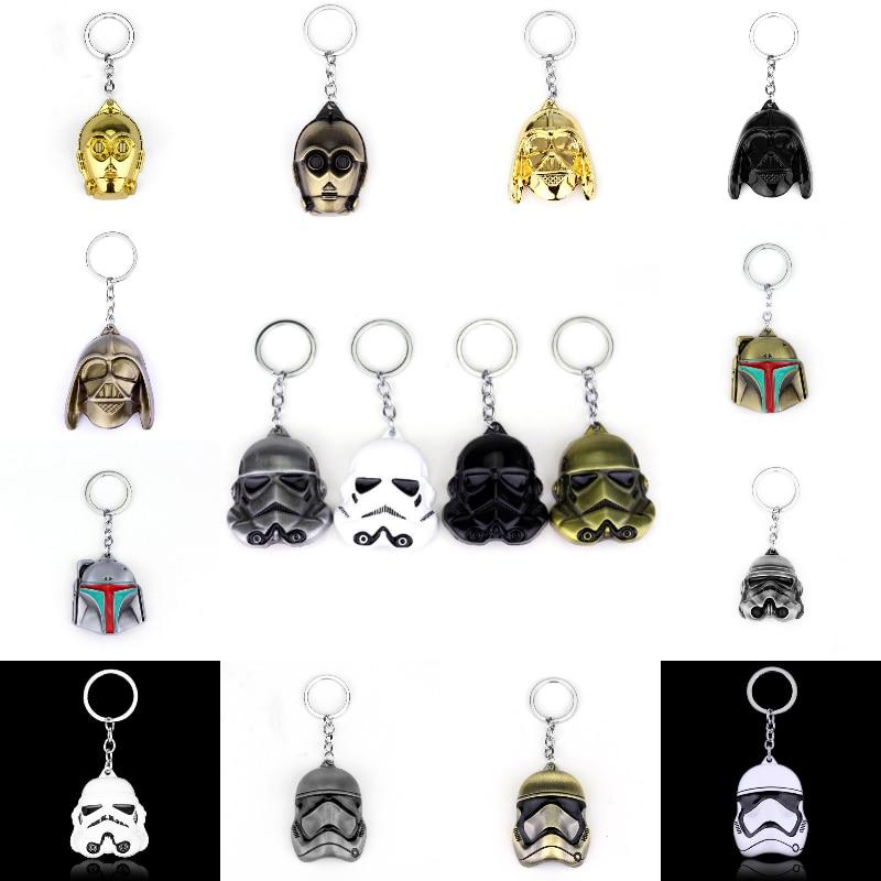 Fashion Movie Star Wars 3D Figure Darth Vader Anakin Skywalker Keychain Black White Silver Bronze Metal Key Rings Gift For Fans