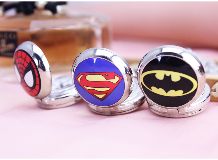 New Fashion Batman superman spiderman Black Dial Movie Quartz Pocket Watch Analog Pendant Necklace Men Women Watches Chain Gift new fashion bill cipher gravity falls quartz pocket watch analog pendant necklace men women kid watches chain gift retro vintage