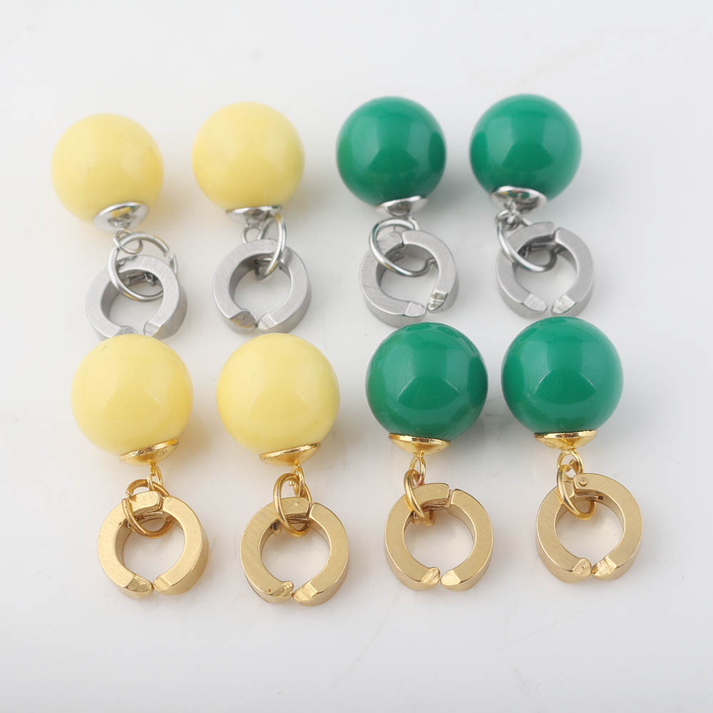 RJ New Dragon Ball Z Potara No Ear Hole <font><b>Earrings</b></font> Gold Silver Stainless Steel Earless Ear Clip Girl Lady Christmas Brincos image