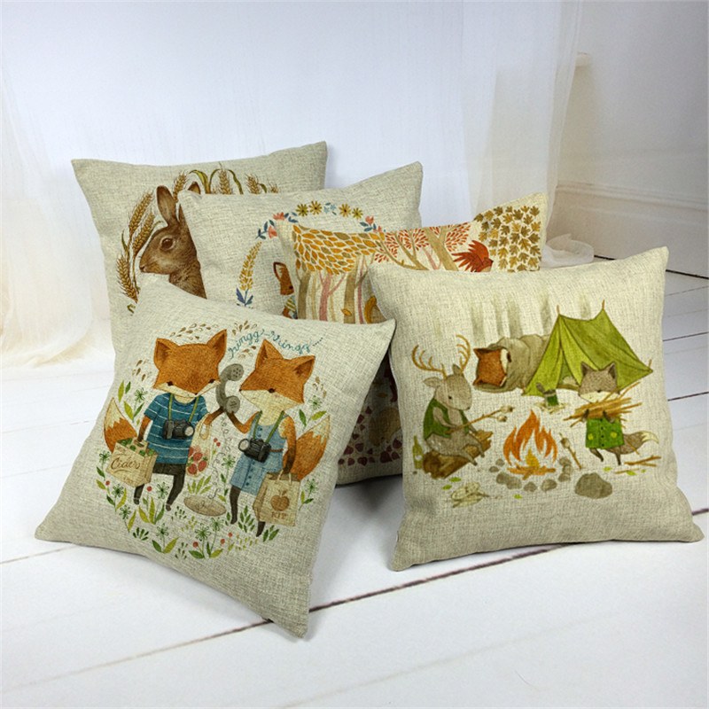 NEW Fashion Home Decoration Throw Pillows Cars Cushion Pillows scandinavian style cartoon Foxes Throw Pillow case cojines