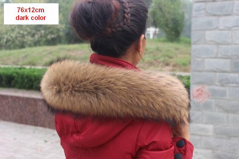 Vinter Äkta Real Natural Raccoon Fur Collar & Women Scarfs Fashion - Kläder tillbehör - Foto 4