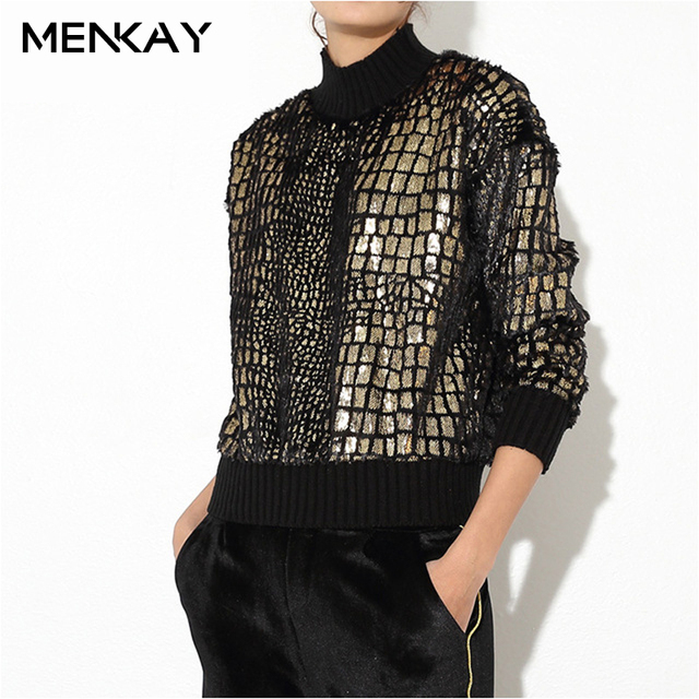 f873baead98b6 US $29.0 |[MENKAY] 2018 Spring Gold Plaid Sparkle Sequin Covered Turtleneck  Long Sleeve Pullovers Sweatshirt Women Fashion New Female-in Hoodies & ...
