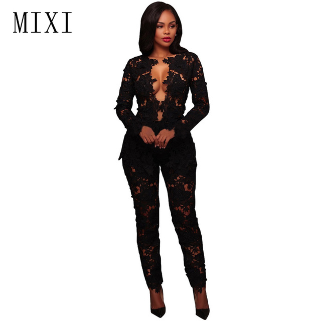 7636508b2df MIXI Black White Elegant Lace Jumpsuit Two Piece Set Long Sleeve V Neck Hollow  Out Bodycon Jumpsuits Sexy Overalls Women Rompers