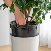 Self Watering Planter Decorative Planter Pot for Outdoor Indoor Garden Elegant Plastic Wicker Rattan Design for Plants Flowers 4