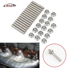 RASTP-For Ford 4.6 5.4 6.0 6.8 Liter V8 stainless exhaust manifold stud kit N811313-S431 16 Studs Nuts For 2 Manifolds  RS-TC011