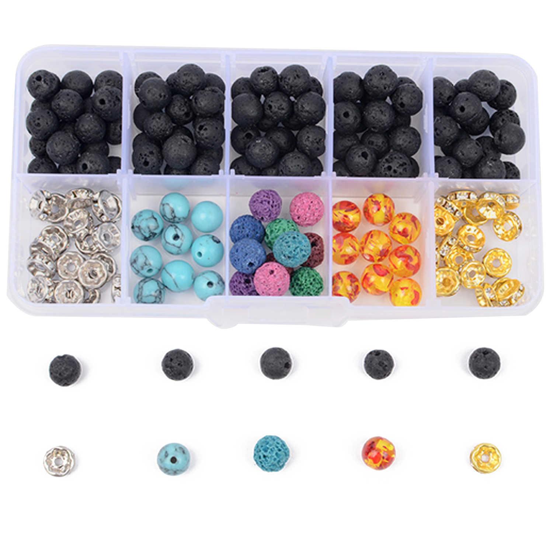 170 шт. 8 мм Мода Лава камень вулканической породы свободные шарики установить с 1 рулон кристалл строка игрушки подарки DIY браслет Цепочки и ожерелья решений