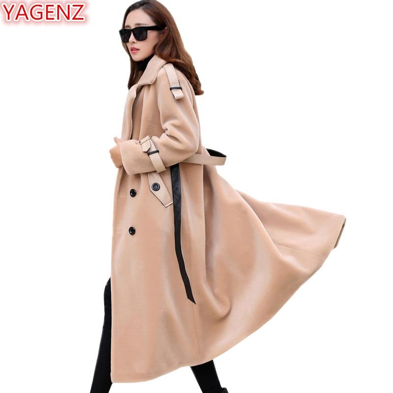 Veste Fausse Longue Coat842 gray Yagenz Automne black Coupe Laine Section Manteau dark Col Green Hiver Mode Khaki Tailleur Haute Qualité En Fourrure De D'agneau Femmes vent qpRp0Iwn