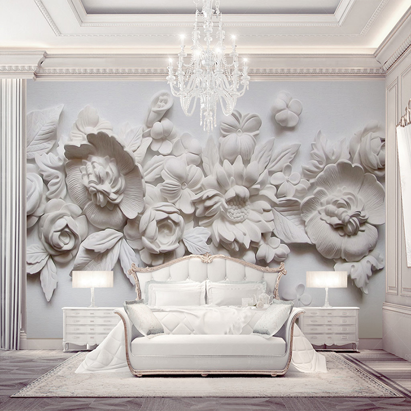 Decorative Wallpaper Delicate Oil Painting Style Plaster Carving And 3d Background Wall