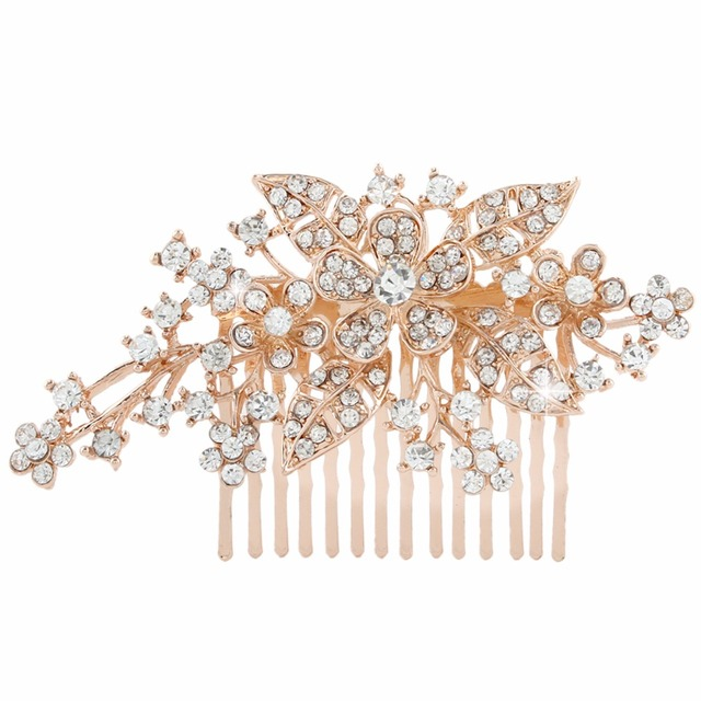 Bella Fashion Rose Gold Tone Flower Bridal Hair Comb Austrian Crystal Head  Piece For Women Wedding Bridesmaid Party Jewelry b286129b496a
