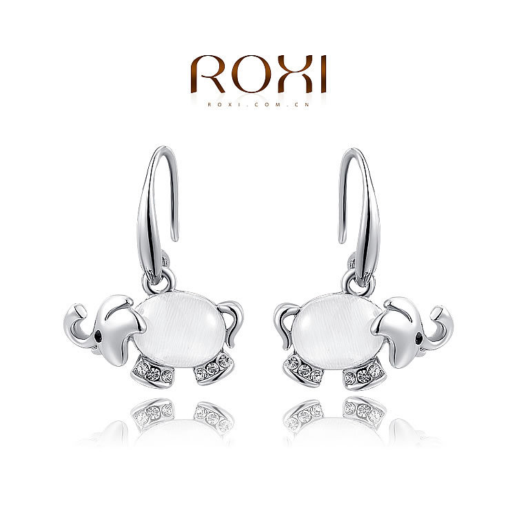 Childrens S Cute Small Animal Crystal Jewelry Kids Drop Earring Rose Gold White Filled Opal Elephant Dangle Earrings In From