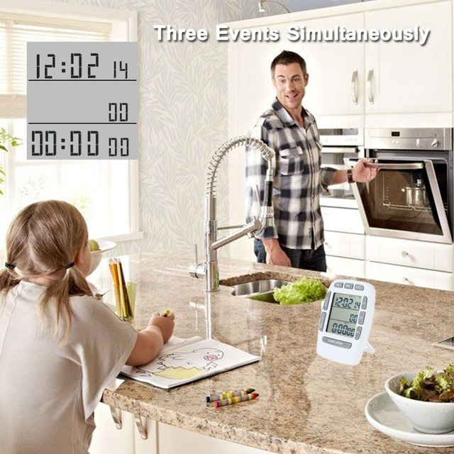 Large LCD Screen Three Channel Kitchen Digital Timer